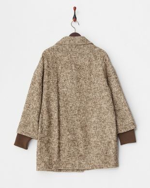 BROWN  COCOON WOOL COAT見る