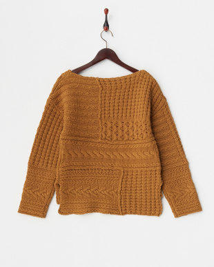 BROWN  PATCH WORK KNIT見る