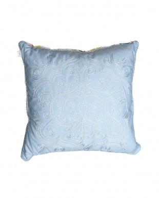 ブルー  Watercolor 刺繍クッション 45×45cm見る
