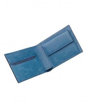 ブルー  カモフラージュ柄2つ折りウォレット見る
