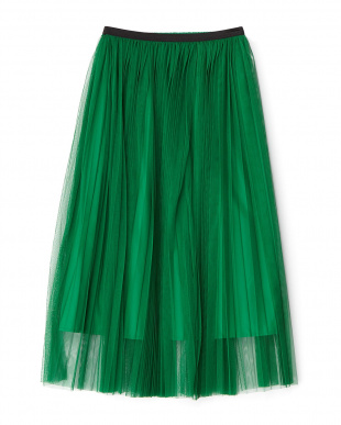 グリーン  カラーチュールプリーツスカート見る
