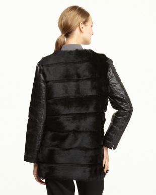 ブラック  ラビット×羊革ジャケット見る