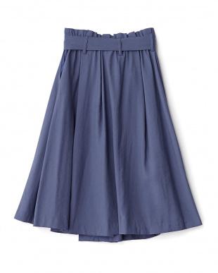 ブルー リボンベルト付きラップ風フレアスカート見る