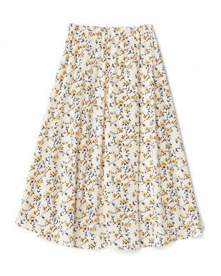 オフホワイト  花柄ミディ丈スカート見る