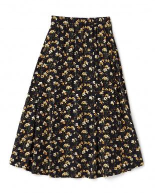 ブラック  花柄ミディ丈スカート見る