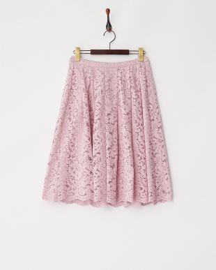ピンク  レース×チュール 2WAYスカート見る