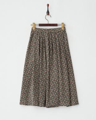 ネイビー  小紋柄 タック&フレアースカート見る