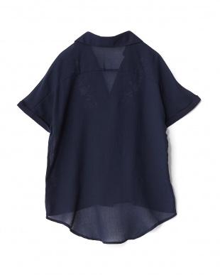 ネイビー  PV 刺繍ガーゼスキッパーシャツ見る