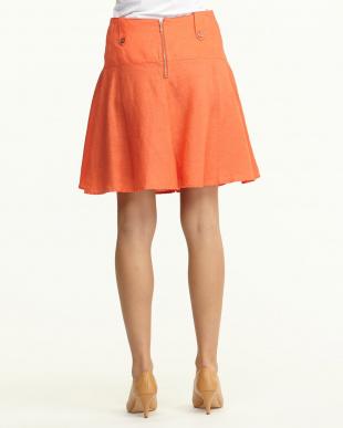 オレンジ  テンセルリネンヨークフレアスカート見る