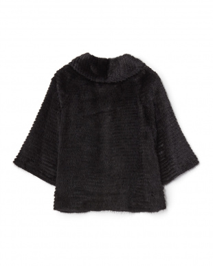 ブラック  ミンクレイヤード七分袖ジャケットA見る
