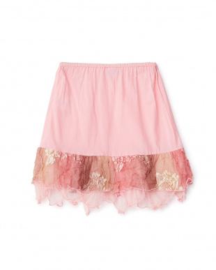 ピンク 裾レース切り替えスカート 4Y見る