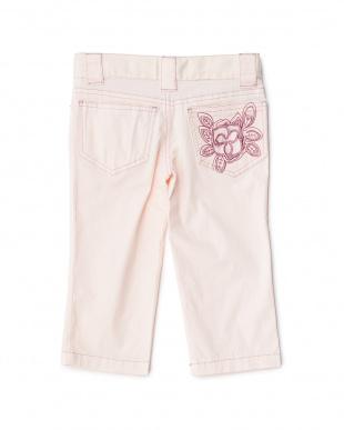 ピンク フラワー刺繍ポケット パンツ 8Y見る