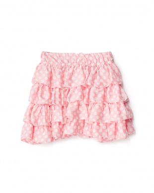 ピンク  ドットティアードスカート 8Y~見る