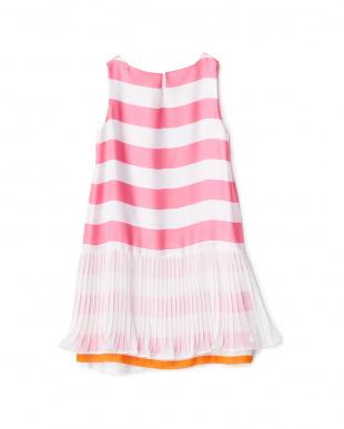 ピンク 裾プリーツ重ね ボーダーワンピース 4Y見る