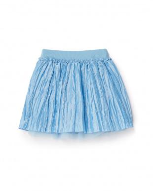 Lブルー  ワッシャー×チュール重ね スカート 8Y~見る