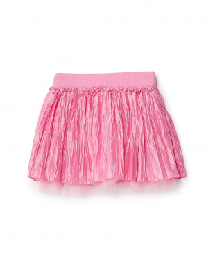 ショッキングピンク  ワッシャー×チュール重ね スカート 8Y~見る