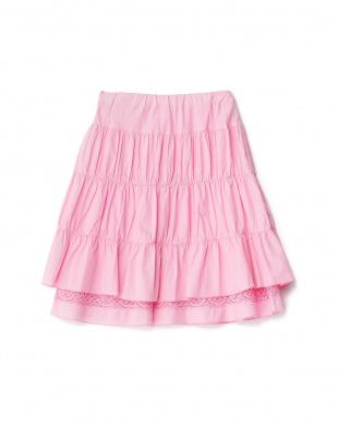 ピンク 裾レース コットンギャザースカート 4Y~見る