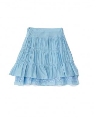 ブルー 裾レース ギャザースカート 14Y見る