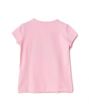 ショッキングピンク フラワー刺繍+スパンコールTシャツ 4Y見る