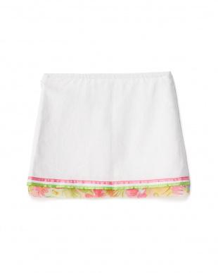 シロ 裾シフォン フラワー刺繍スカート 2Y~見る