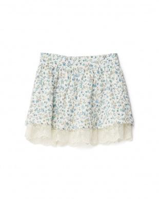 グリーン  スカラップ裾レース 小花スカート 8Y~見る