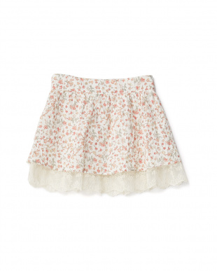 ピンク  スカラップ裾レース 小花スカート 8Y~見る
