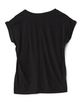 ブラック  スクワランUネックフレンチスリーブTシャツ見る