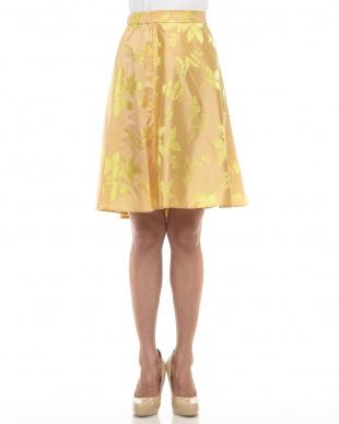 ペールオレンジ リーフシルクサテンスカート見る
