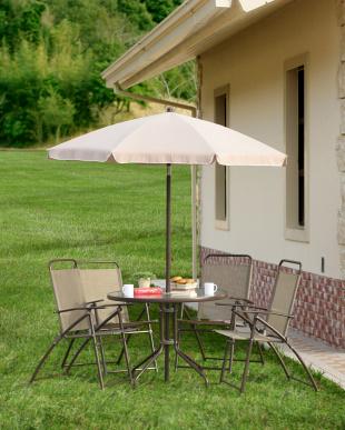 ガーデン6点セット(テーブル×1、チェア×4、パラソル×1)見る