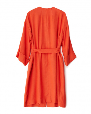 オレンジ  ノーカラー W袖コート見る