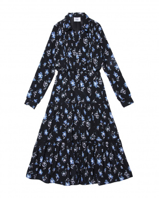 BLACK  paint flower shirt dress見る