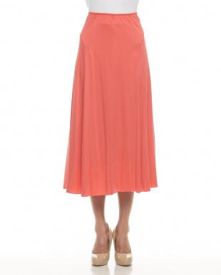 orange red リヨセルコットンフレアロングスカート見る