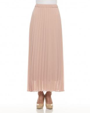 light pink  シフォンロングプリーツスカート見る
