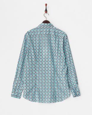 グリーン 幾何学柄ワイドスプレッドカラーシャツ見る
