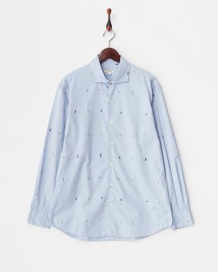 ブルー ヨット柄ワイドスプレッドカラーシャツ見る