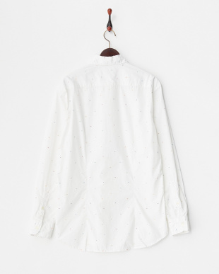 白 カラフルドットワイドスプレッドカラーシャツ見る