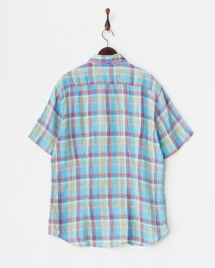 ブルー チェック柄半袖リネンシャツ見る