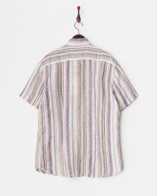 ホワイト系  マルチストライプ柄 半袖リネンシャツ見る