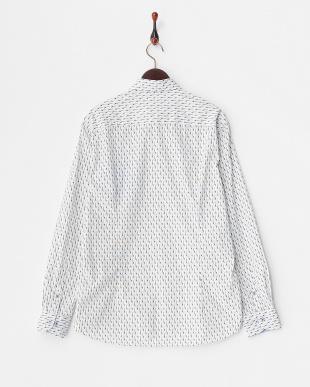 白 ギター総柄 長袖シャツ見る