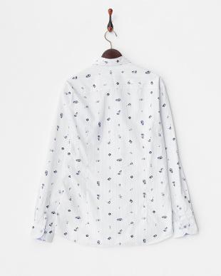 白 楽器プリント長袖シャツ見る
