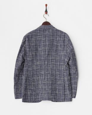 ネイビー 織り柄コットンリネン2ボタンジャケット見る