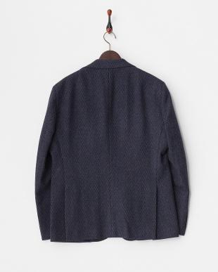 ネイビー 織り柄ウール混2ボタンジャケット見る