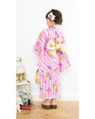 ピンク系 サーカス&トランプマーク&縦縞 浴衣+帯見る