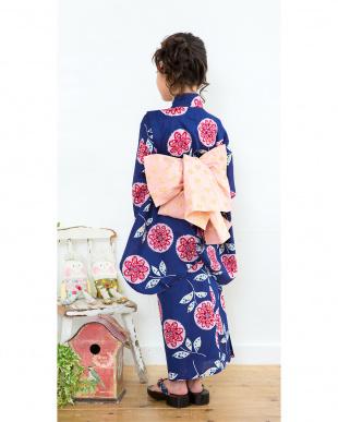 ネイビー系 花in花 浴衣+帯見る
