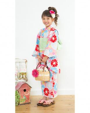 ピンク系 大小花 浴衣+帯|GIRL見る