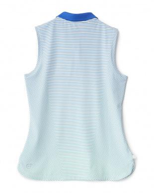 DAZZLING BLUE  ストライプ ノースリーブ ポロシャツ見る
