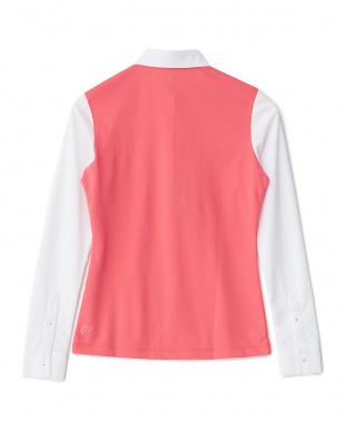 CALYPSO CORAL-WHITE 配色UVカットシャツ見る