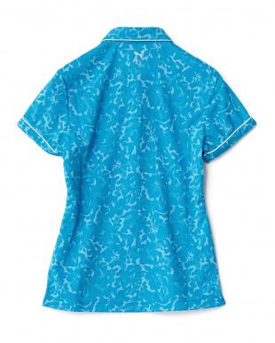 BLUE JEWEL  ハイビスカス柄ジャカード ポロシャツ見る
