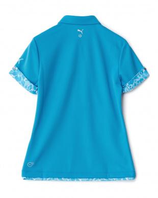 BLUE JEWEL  ハイビスカス柄コンビ ワイドカラー ポロシャツ見る