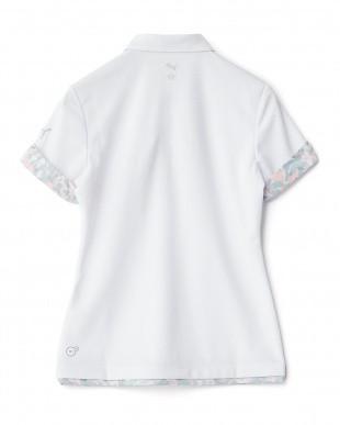WHITE  ハイビスカス柄コンビ ワイドカラー ポロシャツ見る